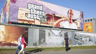 Plakat des Spiels GTA5 in Berlin